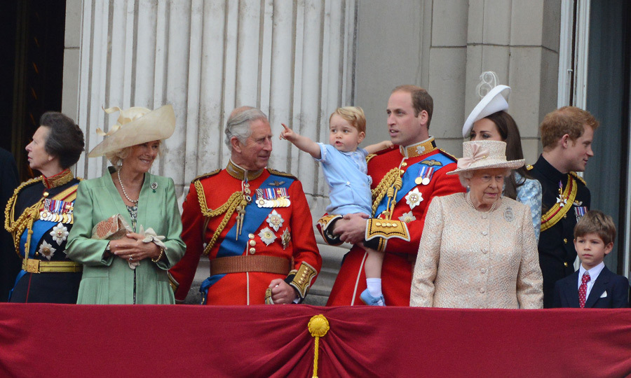 June 2015: Inquisitive George became excited when the planes flew overhead during his first Trooping of the Colour.