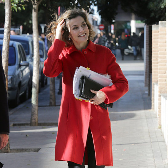 Queen Letizia of Spain brightened up a chilly morning in Madrid with her stylish red coat as she attended a work meeting with the board of the Spanish Federation of Rare Diseases. 