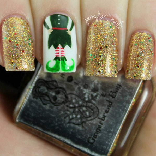 Elf on a nail! This fun and festive design curtesy of Jamy Nail Art was a success thanks to Sealore nail polish.