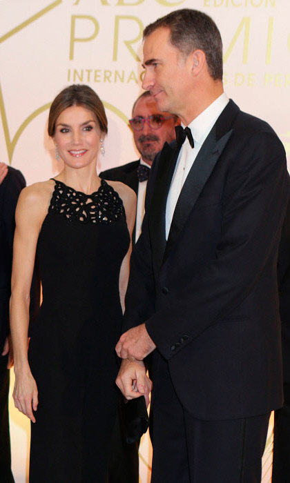 Now THAT'S an LBD! Queen Letizia looked stunning alongside husband King Felipe at the ABC Awards in Madrid, Spain.