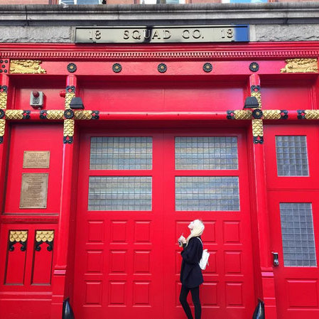 "Princess Olympia of Greece found a hot spot for a cool snapshot in New York City, captioning the pic: ""Reddd ❤️⛔️'.""