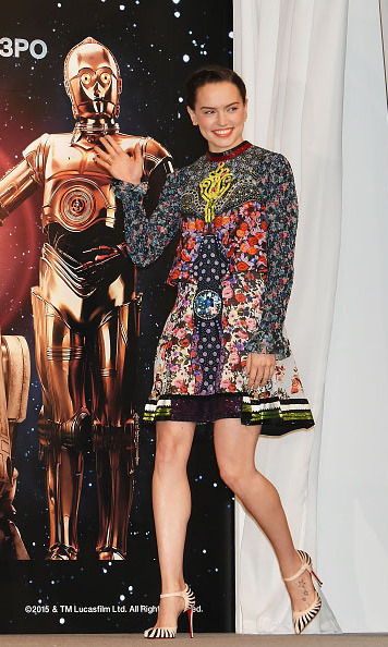 December 11: Force in fashion! 'Star Wars' actress Daisy Ridley greeted fans during her arrival at the 'Star Wars: The Force Awakens' press conference in Urayasu, Japan. 