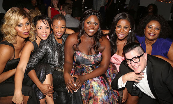 December 10: The girls of 'Orange is the New Black' Laverne Cox, Selenis Leyva, Samira Wiley, Danielle Brooks, Adrienne Moore, Uzo Aduba, and Lea DeLaria celebrated Danielle's Broadway debut in 'The Color Purple' at The Copacabana in New York City. 