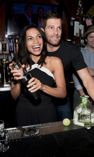 December 9: Playing bartender! Rosario Dawson and Geoff Stults shook things up at the fundraiser benefiting the Charlotte and Gwneyth Gray Foundation at Rock & Reilly's in Los Angeles.