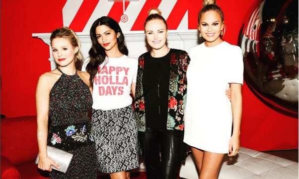 "Demember 7: Kristen Bell, Camila Alves, Malin Akerman and Chrissy Teigen wished everyone a ""Merry Happy Everything"" at the Target Wonderland launch in New York City. 