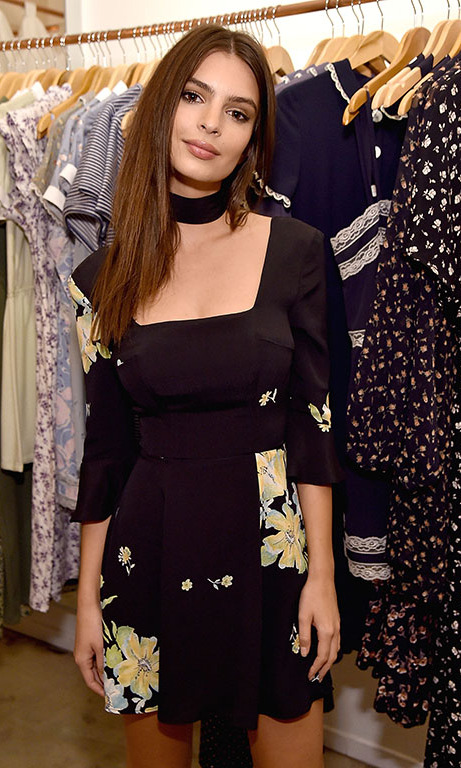 "December 7: Emily Ratajkowski and designer Christy Dawn celebrated the launch of the ""Emily"" dress, which the actress is seen wearing, at the event in Los Angeles. 