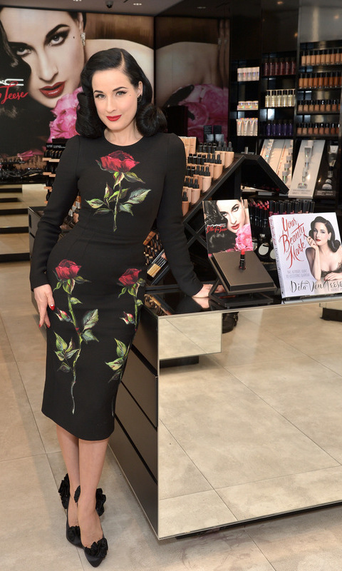 December 12: Dita Von Teese celebrated the launch of her new lipstick during an intimate cocktail party at M·A·C North Beverly in Beverly Hills.