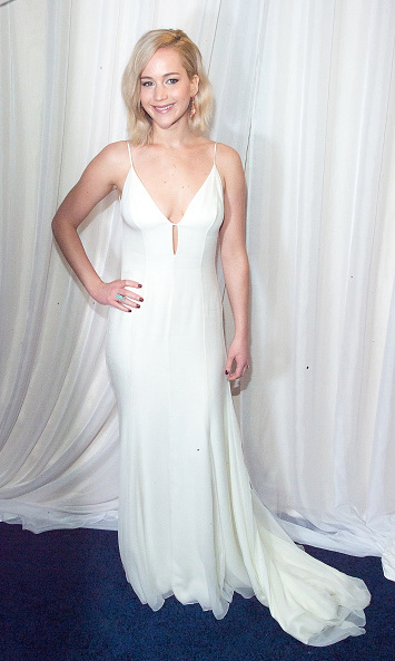 December 13: What a joy! Jennifer Lawrence showed off her winter white at the film's premiere in NYC.