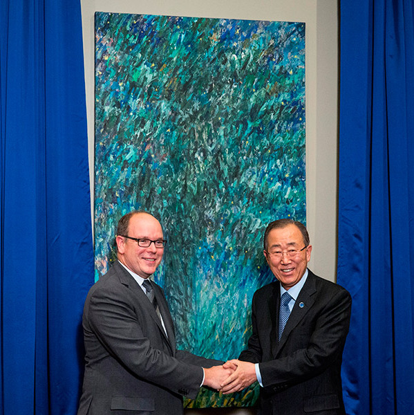 Prince Albert of Monaco helped U.N. Secretary General Ban Ki-moon unveil a painting Monaco gifted to the United Nations in New York City.