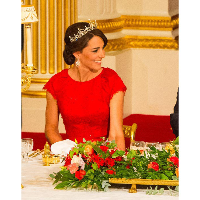 The Duchess looked every inch a style icon as she attended her first ever state banquet. Her hair was accessorized with the glittering Lotus Flower tiara, which once belonged to Prince William's great-grandmother.