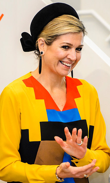 Brightening up a chilly morning in her multi-colored dress, Queen Maxima of the Netherlands attended the Dutch Prix de Rome 2015 awards, the oldest prize in the Netherlands for artists under 40, in Amsterdam.