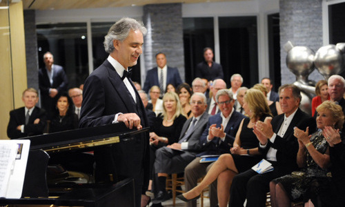December 16: The legendary Andrea Bocelli serenaded donors of the Baptist Health Foundation, sponsored by Pomellato Jewelry, with a private concert in Key Biscayne, Florida.