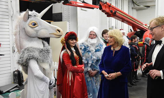 The Duchess met a whole range of performers – including an unidentified unicorn – during the tour. 