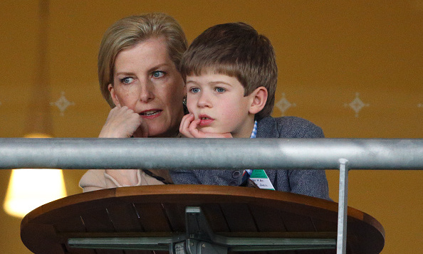 Sophie, Countess of Wessex kept her eyes on the action with son Viscount Severn at Ascot Racecourse in England.