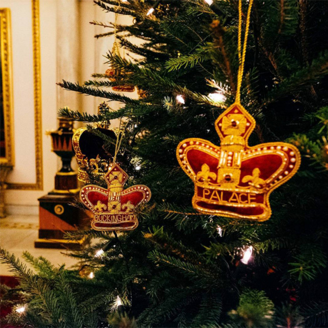 Decorations fit for The Queen and her royal family on one of the trees at Buckingham Palace. 