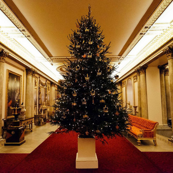 A full view of the royal Christmas tree in the Marble Hall at Buckingham Palace. 