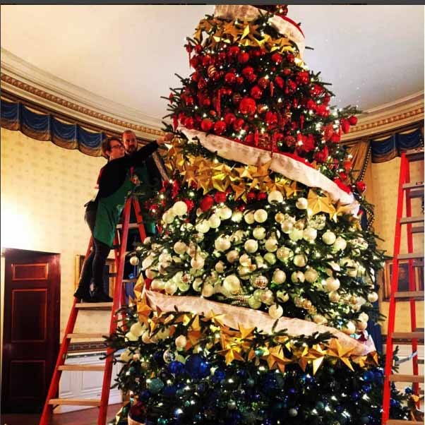The first family opted for a red, white and blue patriotic tree for the holiday festivities this year. 