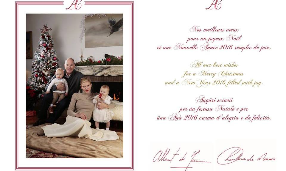 Princess Charlene and Prince Albert of Monaco released their Christmas card featuring their 1-year-old twins Princess Gabriella and Crown Prince Jacques.