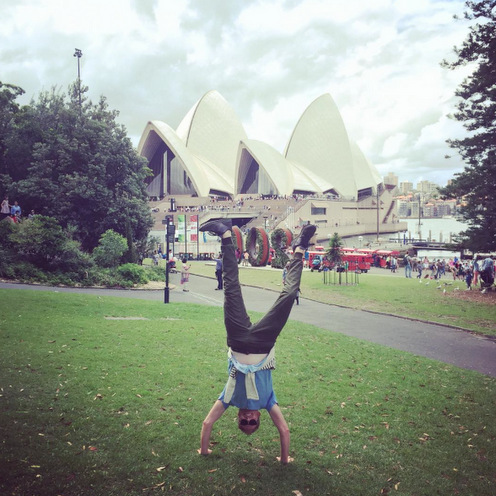 "Jesse Tyler Ferguson is ""upside down under"" in Sydney, Australia.
