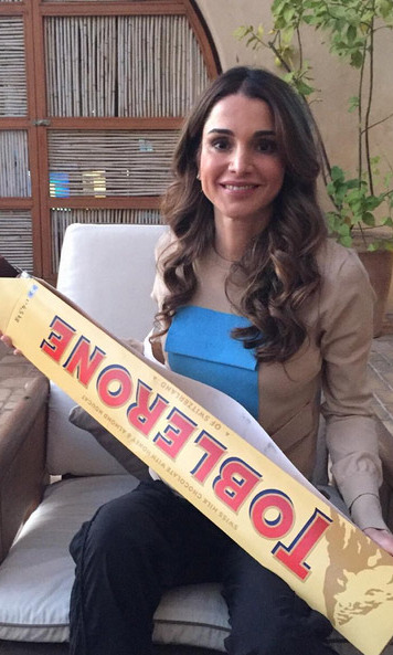 Queen Rania of Jordan was in chocolate heaven this week: 'Today, someone made my childhood dream come true! And it's a big Toblerone, not just a big box with small ones in it!'