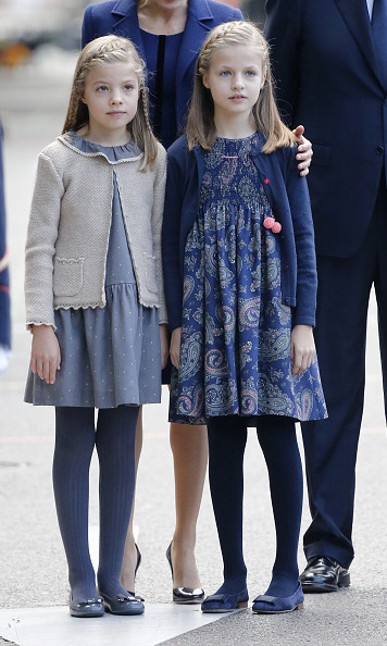 October 2015: Stylish little Spanish princesses! Princess Sofia and Princess Leonor looked extra chic in their coordinating blue dresses and braided hairstyles during the National Day military parade in Spain. 