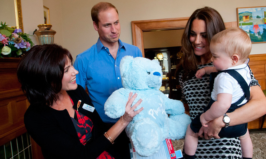 Prince William proudly looked on as his son was presented with a special teddy bear in New Zealand.