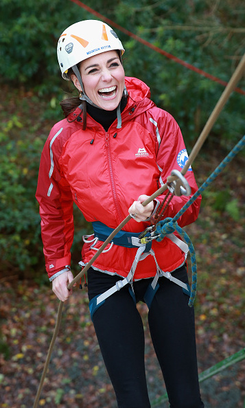 The stylish royal traded her designer labels for a harness to go abseiling with husband Prince William in North Wales.