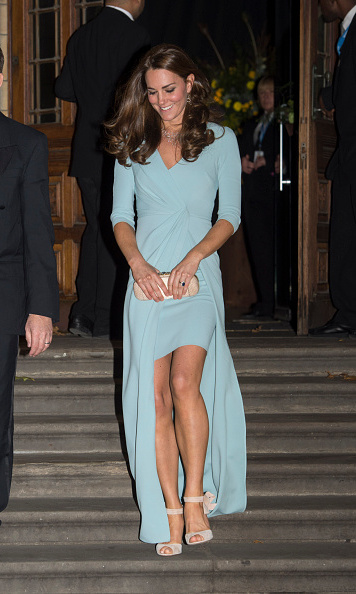 The Duchess of Cambridge stunned in a pastel blue, high rise Jenny Packham gown at the Wildlife Photographer of the Year 2014 Awards.