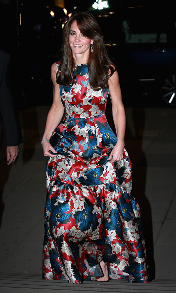 Kate made this floral Erdem gown work in the fall of 2015, while attending the 100 Women In Hedge Funds Gala dinner.