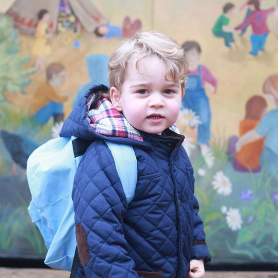 January 2016: Off to preschool! Proud mom, Kate Middleton, snapped photos of Prince George's first day of school. 