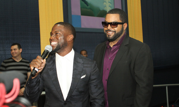 January 6: Kevin Hart and Ice Cube chopped it up with fans at the premiere of their new film 'Ride Along 2' in Miami.