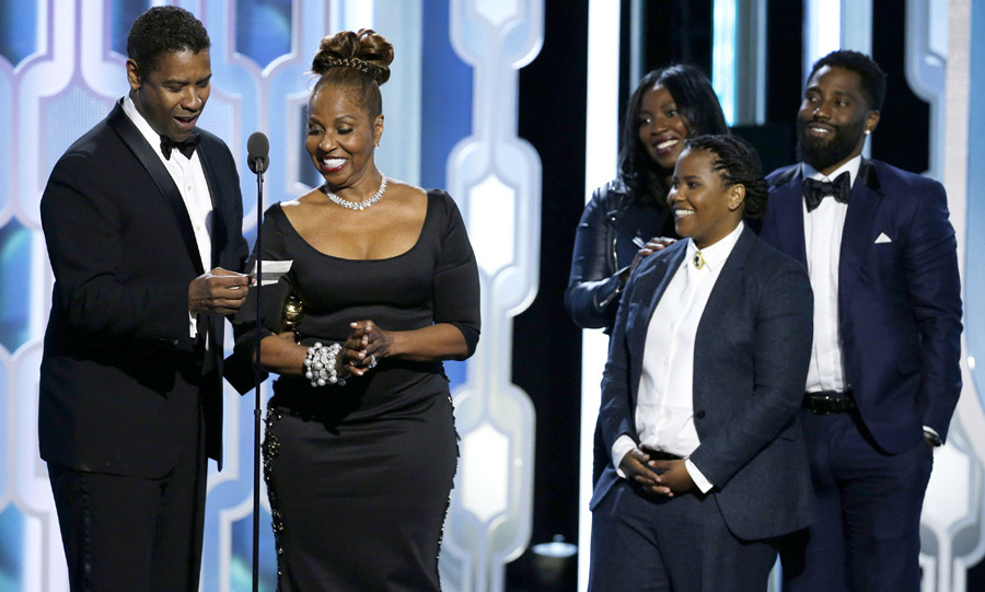 Denzel gave everyone a 'goals' moment when he brought his gorgeous family on stage to receive the Cecil B DeMille Lifetime Achievement Award.