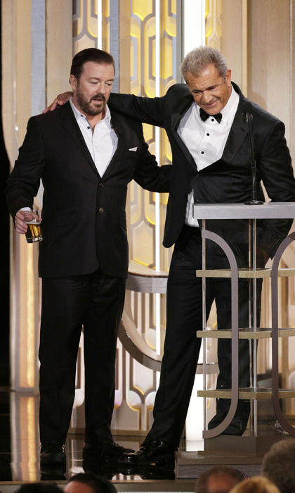 In one of the night's must-see moments, host Ricky Gervais sipped his beer as he introduced Mel Gibson during the ceremony.