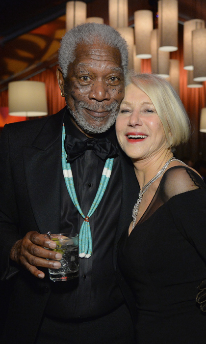 Helen Mirren caught up with good friend (and icon) Morgan Freeman. 