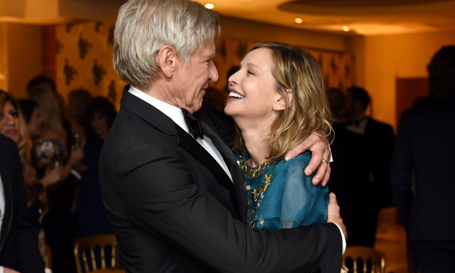'Star Wars' legend Harrison Ford and wife Calista Flockhart shared a romantic moment backstage. 