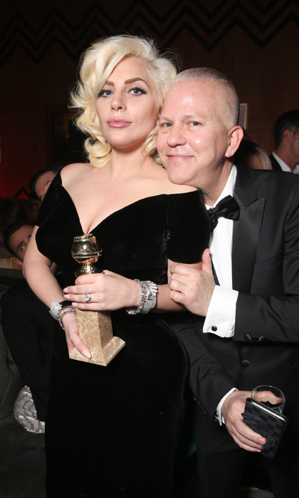 Gaga celebrated her Best Actress in a Mini Series win with 'American Horror Story' producer and friend Ryan Murphy.