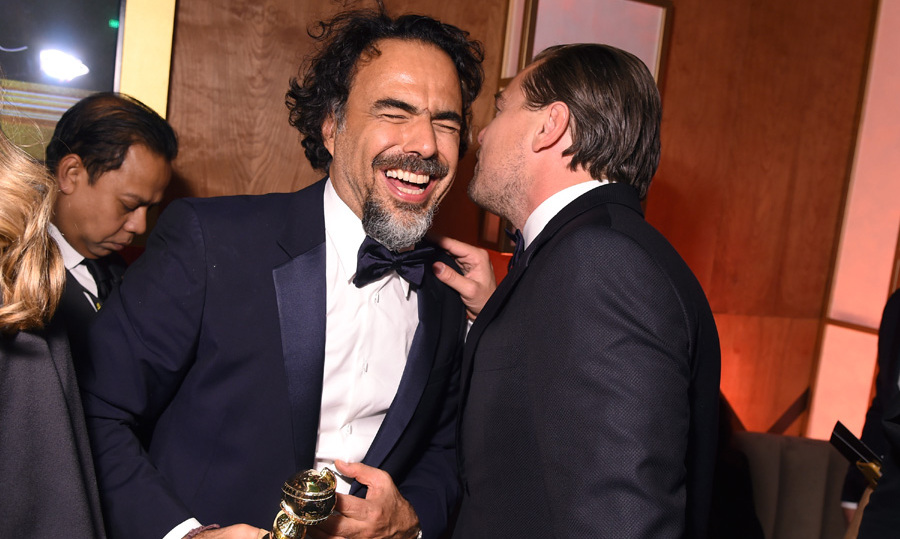 Filmmaker Alejandro Gonzalez Inarritu and Leonardo DiCaprio shared a laugh after winning for Best Director and Best Actor for 'The Revenant.'