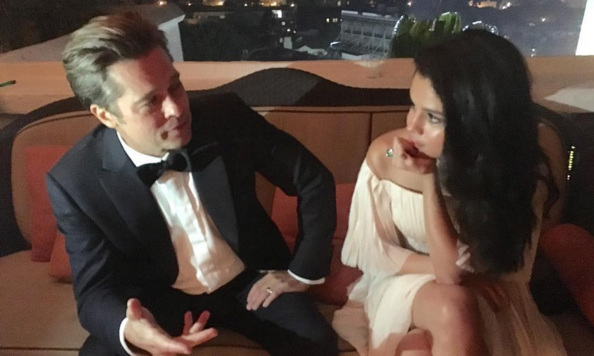 Selena Gomez and Brad Pitt had a chat during an after party.