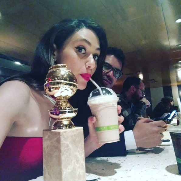Emmy Rossum and her fiancé took a milkshake break after the ceremony. 