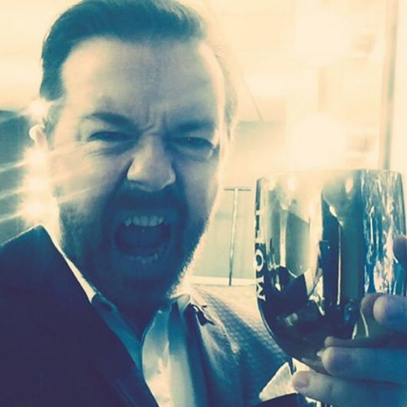 Host Ricky Gervais pre-gamed before the big show. 