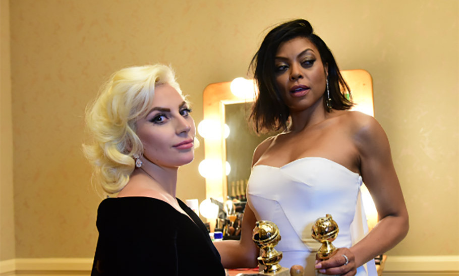 Amping up the glamour factor even more, fellow winner Lady Gaga joined Taraji for a toast. 