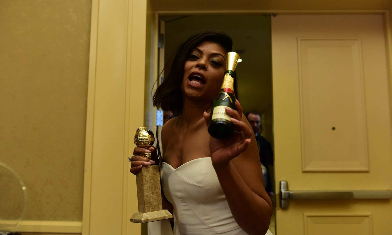 'Empire' star Taraji P. Henson aka Cookie Lyon had her hands full in the Winners' Lounge, too.