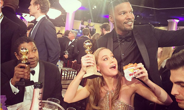 Brie Larson celebrated with Denzel Washington, Jamie Foxx and an In and Out Burger!
