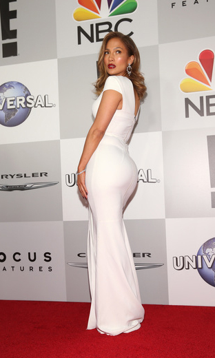 Jennifer Lopez changed into white for the NBC Universal party.