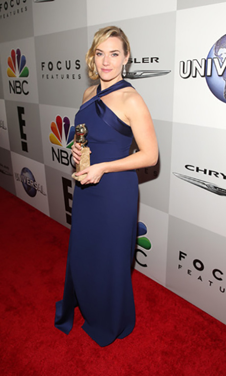 Also hitting the soirée, one of the night's big winners, Kate Winslet.