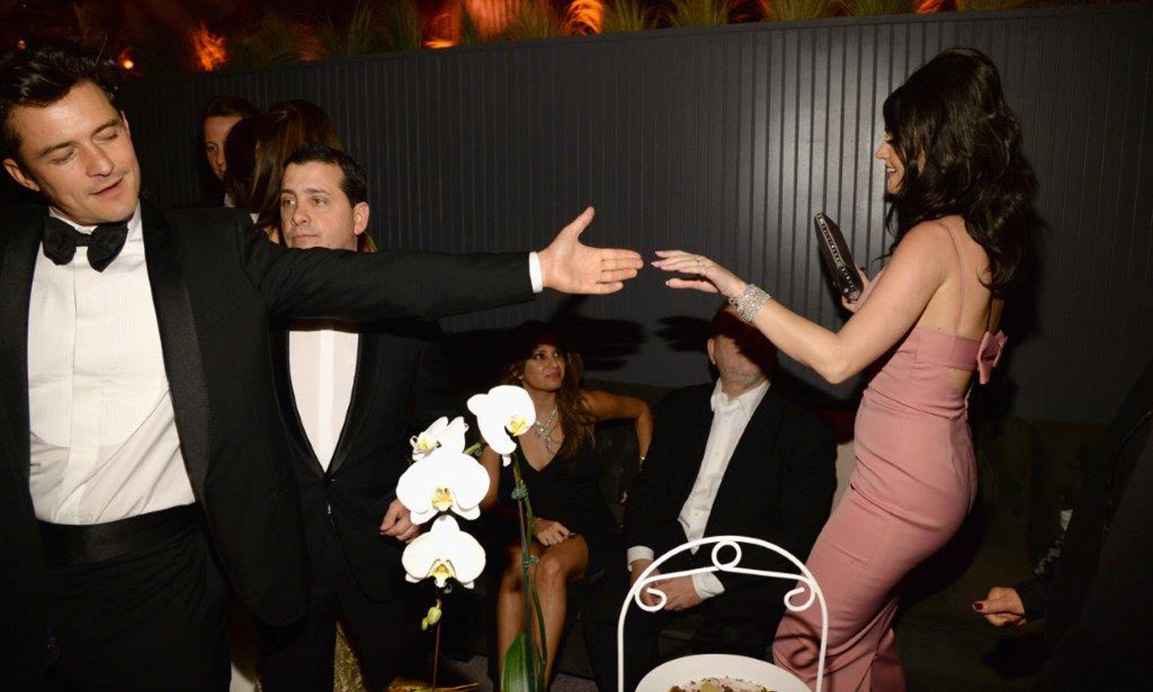 Orlando Bloom and Katy Perry danced the night away at The Weinstein Co. & Netflix's Golden Globe after party sponsored by Fiji water.