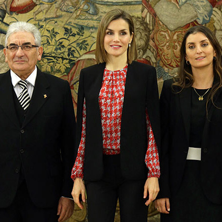 Spanish Queen Letizia rocked a cape during an audience with the Gypsy Secretariat Foundation in Madrid