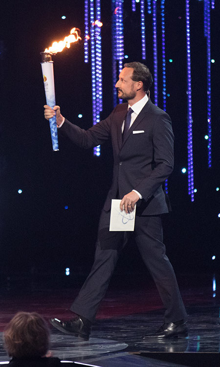 Crown Prince Haakon of Norway entered the 2016 Sports Gala in Lillehammer, Norway carrying the Olympic flame  in preparation for February's opening ceremony of the Lillehammer Youth Olympic Games where the torch will be lit by his daughter Princess Ingrid. <br>
