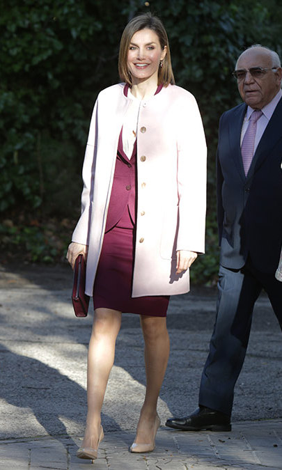"Pretty in pink, Queen Letizia headed to a meeting with the management team of the Foundation for Help Against Drug Addiction ""FAD"" in Madrid. 