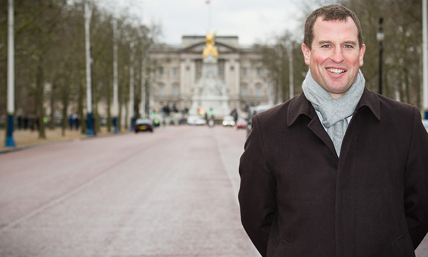 Bundled up against a cold winter morning, Peter Phillips stands on The Mall where 10,000 guests will attend The Patron's Lunch to be held on June 12, 2016, which will celebrate his grandmother Queen Elizabeth's 90th birthday.